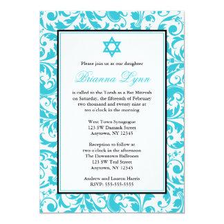 Aquamarine blaue Strudel-Damast-Schläger Mitzvah 12,7 X 17,8 Cm Einladungskarte