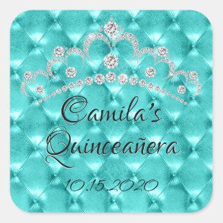 Aquamarine blaue Tiara Quinceañera Feier Quadratischer Aufkleber
