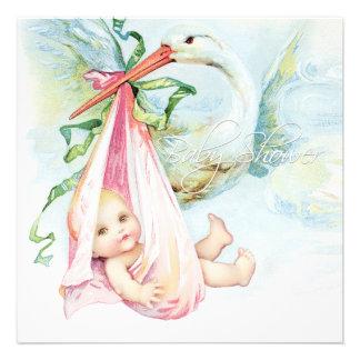 Aquamarine blaue und rosa Storch-Baby-Dusche Personalisierte Einladung