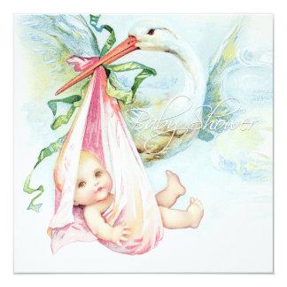 Aquamarine blaue und rosa Storch-Baby-Dusche Quadratische 13,3 Cm Einladungskarte