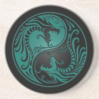 Aquamarine blaue und schwarze Yin Yang Drachen Bierdeckel