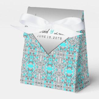 Aquamarine blaue und silberne Hochzeit Geschenkschachtel