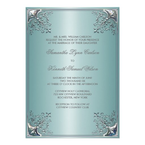 Aquamarine blaue weiße Hochzeits-Einladungen