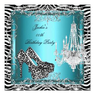 Aquamarine blaue Zebra-Leopard-Druck-Party-Schuhe Quadratische 13,3 Cm Einladungskarte