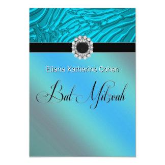 Aquamarine blaue Zebra-Schläger Mitzvah 12,7 X 17,8 Cm Einladungskarte