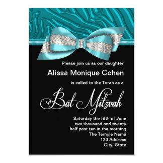 Aquamarine blaue Zebra-Schläger Mitzvah Einladung
