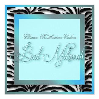 Aquamarine blaue Zebra-Schläger Mitzvah Quadratische 13,3 Cm Einladungskarte