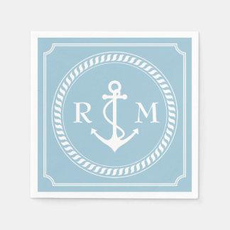 Aquamarine des Seehochzeits-Paares das Monogramm Papierserviette