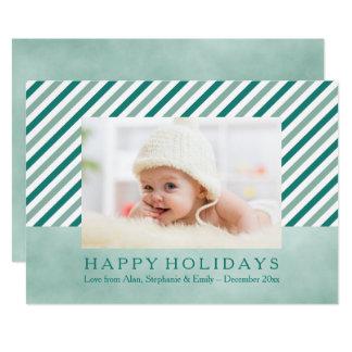 Aquamarine diagonale Streifen-Foto-Feiertags-Karte 12,7 X 17,8 Cm Einladungskarte