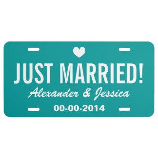 Aquamarine gerade verheiratete Lizenzplatte für US Nummernschild