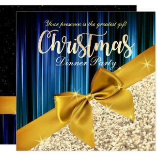 Aquamarine Glittery Weihnachtsabendessen-Einladung Karte
