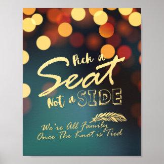 Aquamarine GoldBokeh Auswahl ein Sitz nicht eine Poster