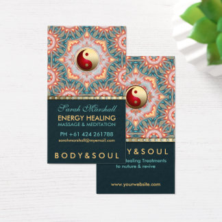 Aquamarine Goldenergie-heilende holistische Visitenkarte