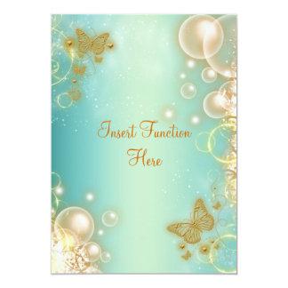 Aquamarine Goldschmetterlings-Hochzeits-Verlobung 12,7 X 17,8 Cm Einladungskarte