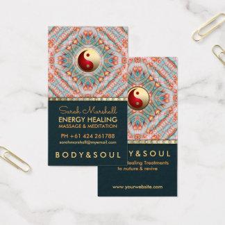 Aquamarine GoldYin Yang Energie-heilende Visitenkarte