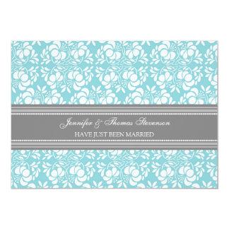 Aquamarine graue Damast-gerade verheiratete 12,7 X 17,8 Cm Einladungskarte