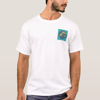 Aquamarine Hintergrund-Blumen in einem Ring T-Shirt