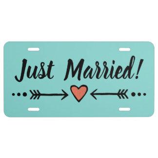 Aquamarine Hochzeits-Herz-Flitterwochen | gerade US Nummernschild