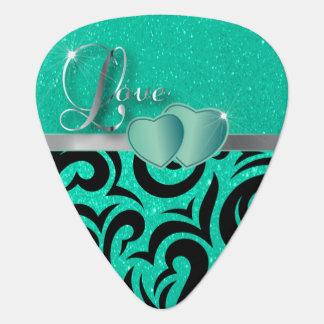 Aquamarine Liebe-Herzen Verder Muster-| Plektrum