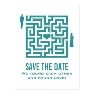Aquamarine Liebe-Labyrinth-Save the Date Postkarte