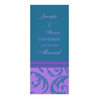 Aquamarine lila gerade verheiratete 10,2 x 23,5 cm einladungskarte