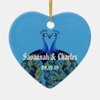 Aquamarine Marine-Blau-Pfaus, die 1. Weihnachten Keramik Ornament