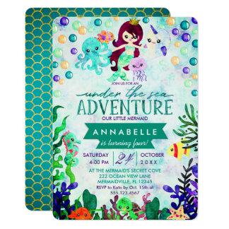 Aquamarine Meerjungfrau-Thema-Geburtstags-Party Karte