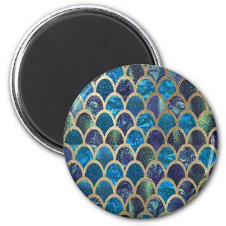 Aquamarine Meerjungfrauskalen Runder Magnet 5,1 Cm