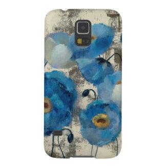 Aquamarine mit Blumen Hülle Fürs Galaxy S5