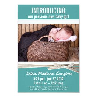Aquamarine neue Baby-Mädchen-Geburts-Mitteilung 8,9 X 12,7 Cm Einladungskarte