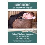 Aquamarine neue Baby-Mädchen-Geburts-Mitteilung Individuelle Ankündigung