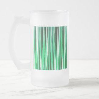 Aquamarine-Ozean-Stripy Muster Mattglas Bierglas