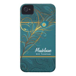 Aquamarine Pfau-Federn mit Paisley Case-Mate iPhone 4 Hülle