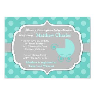 Aquamarine Polka-Punkt-Baby-Duschen-Einladung Karte