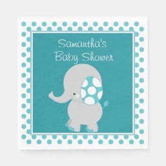 Aquamarine Polka-Punkte des Baby-Elefant-| | Serviette