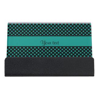 Aquamarine Polka-Punkte Schreibtisch-Visitenkartenhalter