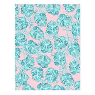 Aquamarine rosa tropische niedliche Blumen des Postkarten