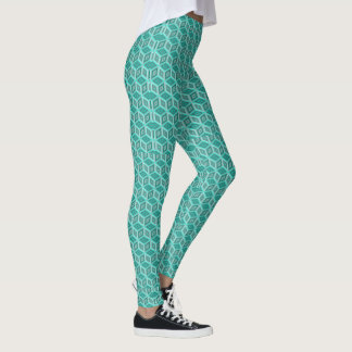 Aquamarine Schatten-optische Illusion packt Muster Leggings