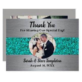 Aquamarine Schein-Foto-Hochzeit danken Ihnen Karte