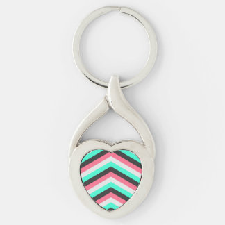 Aquamarine schwarze Rosa-und Aqua-Hipster-Streifen Silberfarbener Herz Schlüsselanhänger