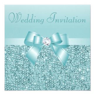 Aquamarine Sequins-, Bogen-u. Diamant-Hochzeit Quadratische 13,3 Cm Einladungskarte