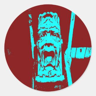 Aquamarine/sonderbares Gesichts-große runde Runder Aufkleber