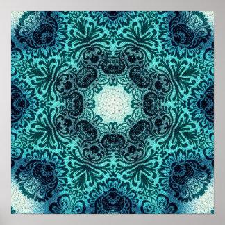 aquamarine Spitze des hoch entwickelten Vintagen Poster