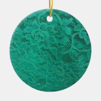 Aquamarine Spitze Keramik Ornament