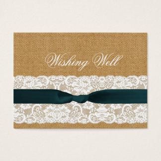 Aquamarine Spitze-und Leinwand-Hochzeit Visitenkarte