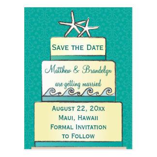 Aquamarine Starfish-Hochzeits-Kuchen-Save the Date Postkarte