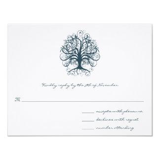 Aquamarine Strudel-Baum-Hochzeits-Wartekarte Karte