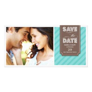 AQUAMARINE U. BROWN-FAHNEN-%PIPE% SAVE THE DATE INDIVIDUELLE FOTO KARTEN