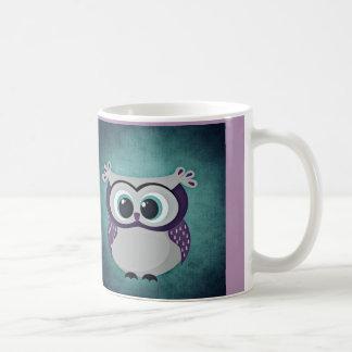 Aquamarine u. lila Eule Kaffeetasse