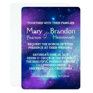 Aquamarine u. rosa Universum-Nebelfleck-Hochzeit Karte